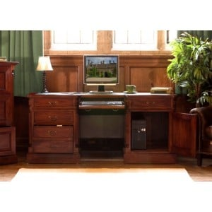 La Roque Mahogany Furniture Twin Pedestal Computer Desk